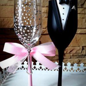 Rózsaszín  gyöngy pezsgős pohár pár