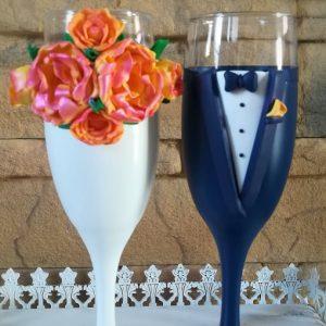 Bazsarózsa esküvői pezsgős pohár