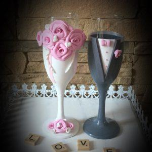 Rózsaszín - szűrke esküvői pezsgős pohár