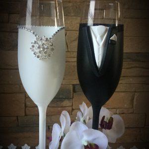 Bross esküvői pezsgős pohár pár