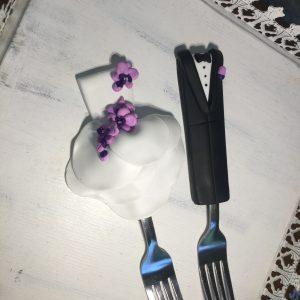 Orchidea esküvői evőeszköz szett