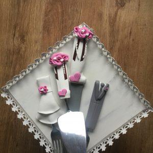 Rózsaszín szerelem  esküvői evőeszköz szett