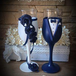 Zafír kék esküvői Pezsgős pohár