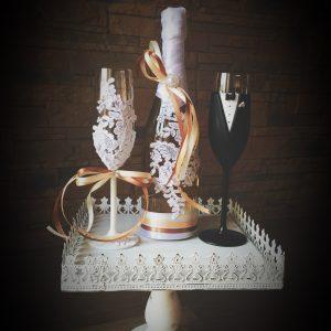 Barna-Vanília  csipke esküvői  szett