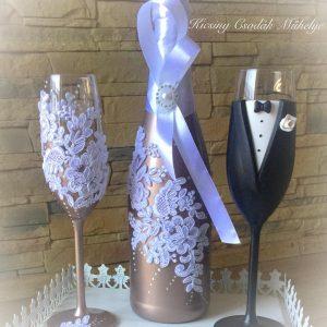 Rose gold esküvői  szett