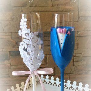 Csipke pezsgős pohár pár