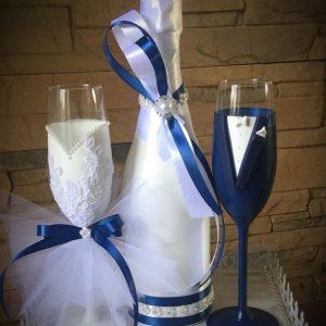 Zafír kék álom pezsgő szett