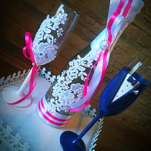 Pink csipke esküvői  szett