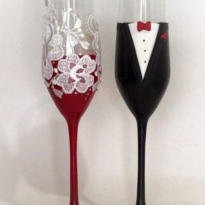 Burgundi vörös csipke pezsgős pohár pár