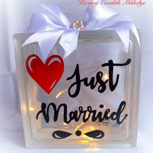 Just Married üvegtégla
