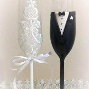 Csipke  esküvői pezsgős pohár