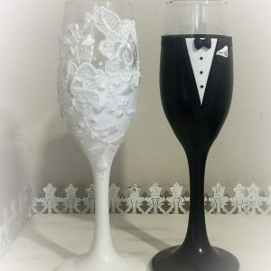 Csipke  esküvői pezsgős pohár 2.