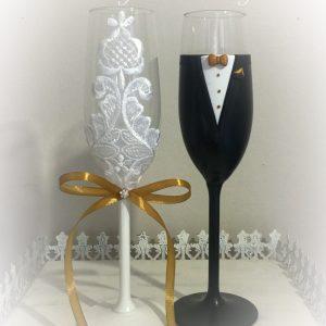 Arany - Csipke  esküvői pezsgős pohár