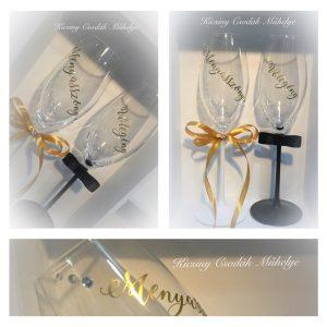 Menyasszony - Vőlegény esküvői pezsgős pohár