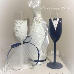 Csipke varázs esküvői pezsgő szett