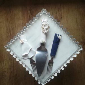 Fehér szerelem  esküvői evőeszköz szett