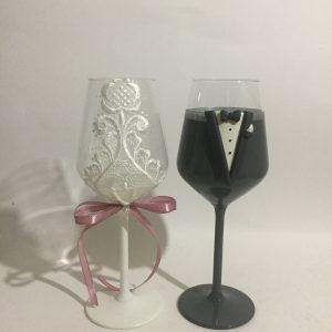 Esküvői borospohár pár