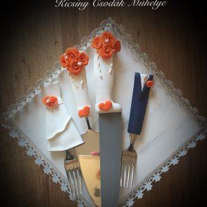 Narancs szerelem  esküvői evőeszköz szett