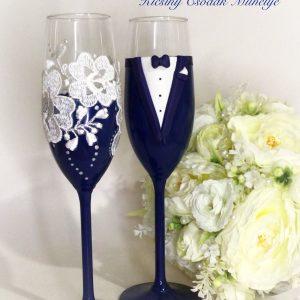 Navy kék- csipke  esküvői pezsgős pohár