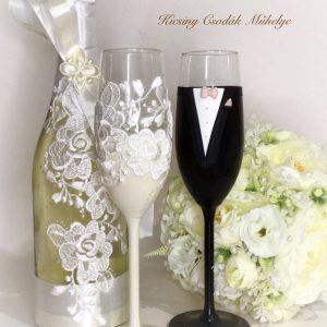 Krém-csipke esküvői  szett