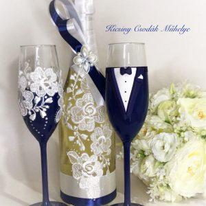 Navy kék - csipke esküvői  szett