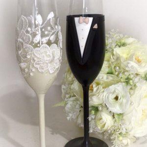 Krém-csipke  esküvői pezsgős pohár