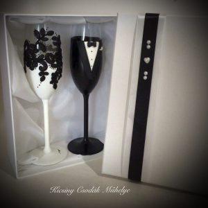 Fekete csipke esküvői pezsgős pohár